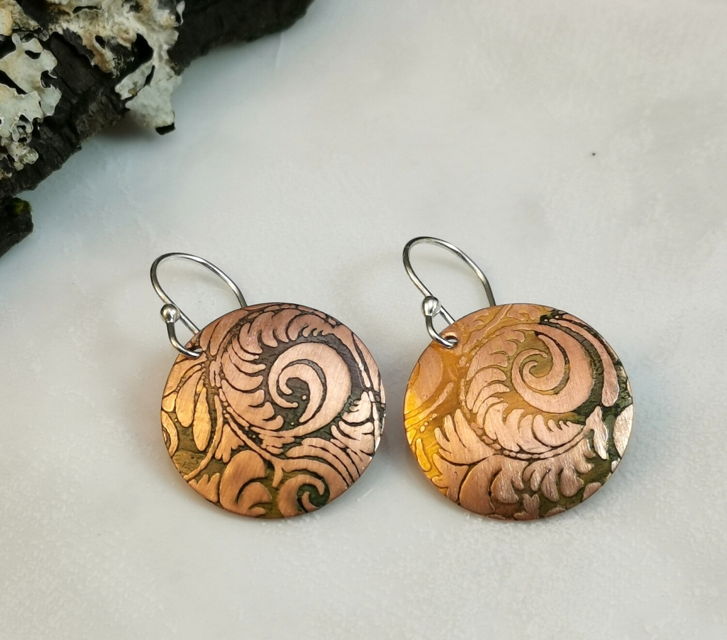 Hand Painted Flower Patterned Copper Earrings with Hues of Green and Gold on Sterling Silver Ear Wires