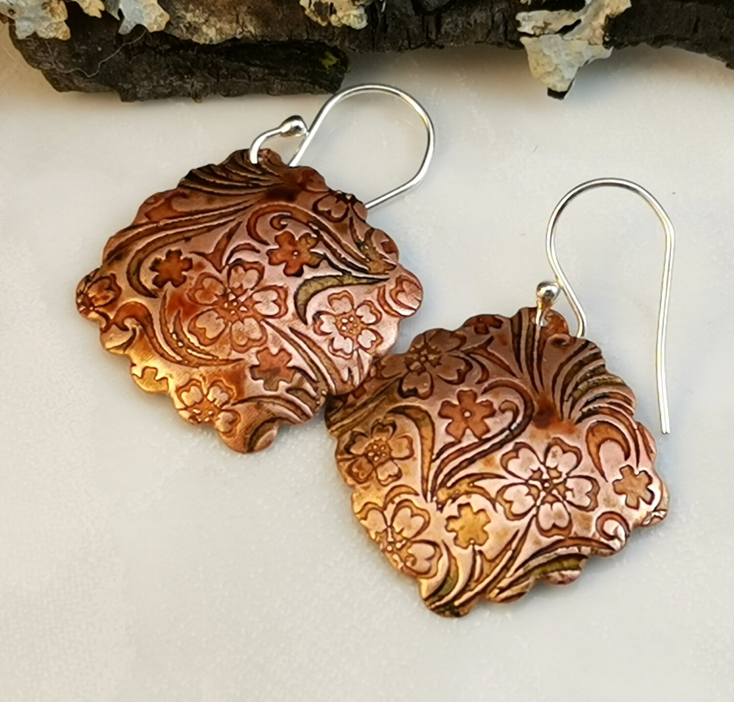 Hand Painted Tiny Flower Patterned Ruffled Copper Earrings with Hues of Green and Golded Orange on Sterling Silver Ear Wires