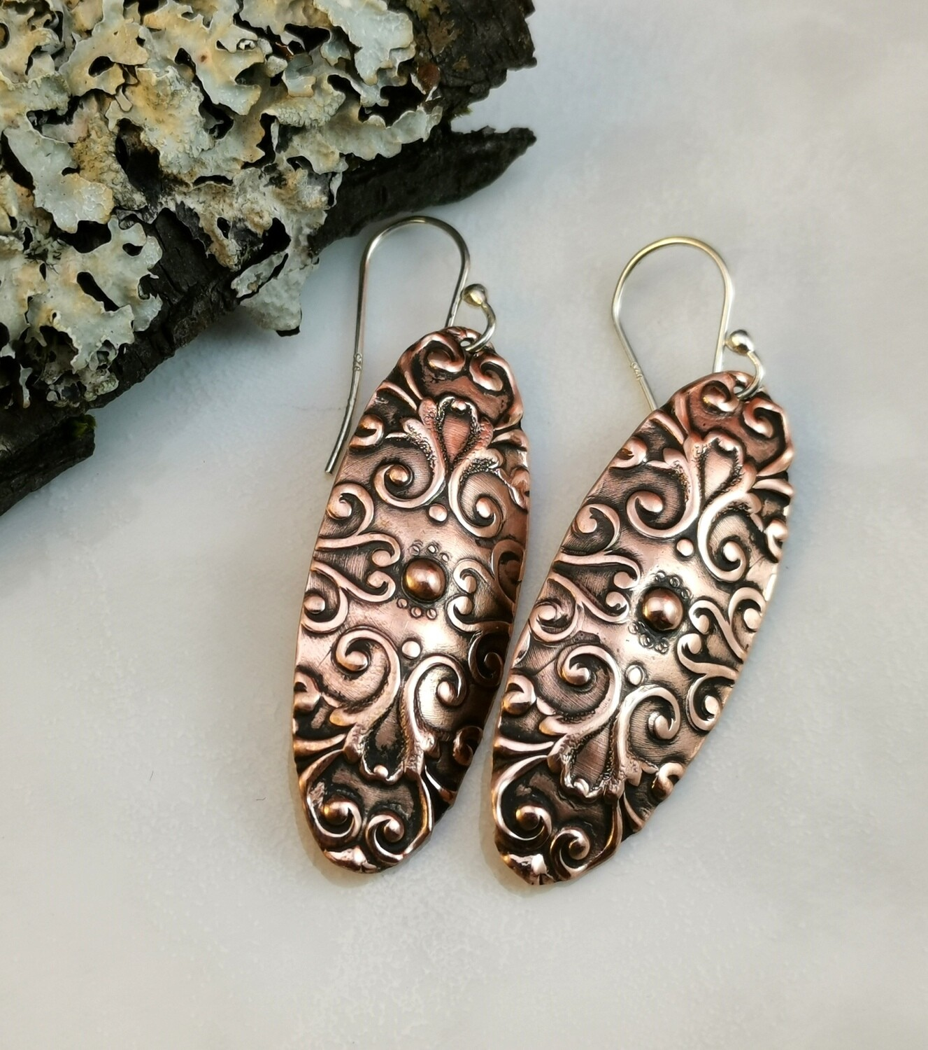 Scroll Patterned Textured Copper Oval Earrings