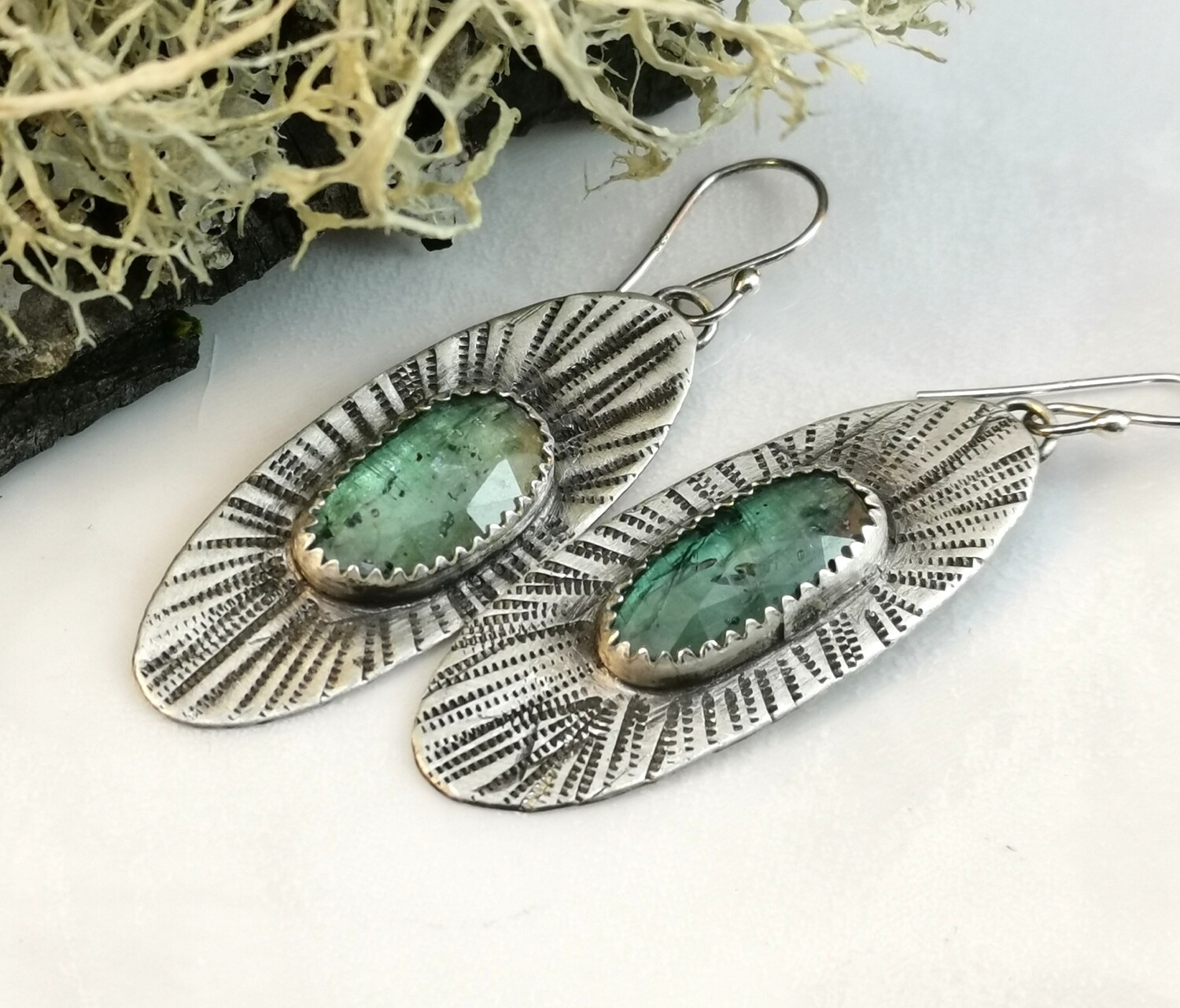 Rose Cut Green Kyanite Gemstone Sterling Silver Earrings