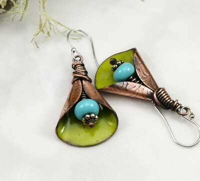 Rustic Green Torch Fired Enameled Copper Wide Lily Flower Earrings with  Blue Lampwork Bead