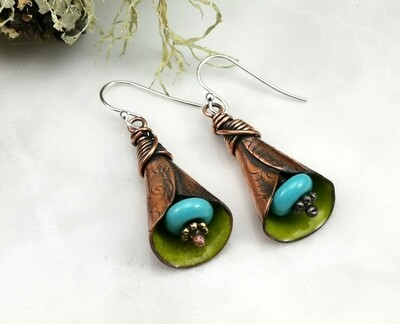 Rustic Green Torch Fired Enameled Copper Lily Flower Earrings with  Blue Lampwork Bead