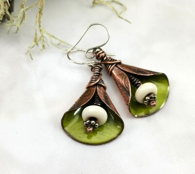 Rustic Green Torch Fired Enameled Copper Wide Lily Flower Earrings with Cream Lampwork Bead