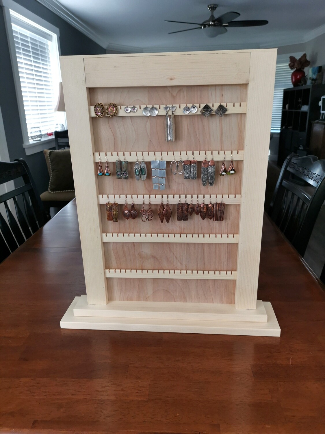 Wooden Earring Jewelry Display for Studs and Wire Hook earrings