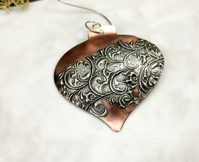 Mixed Metal Domed Heart Shaped Oxidized Copper Ornaments with Textured Silver