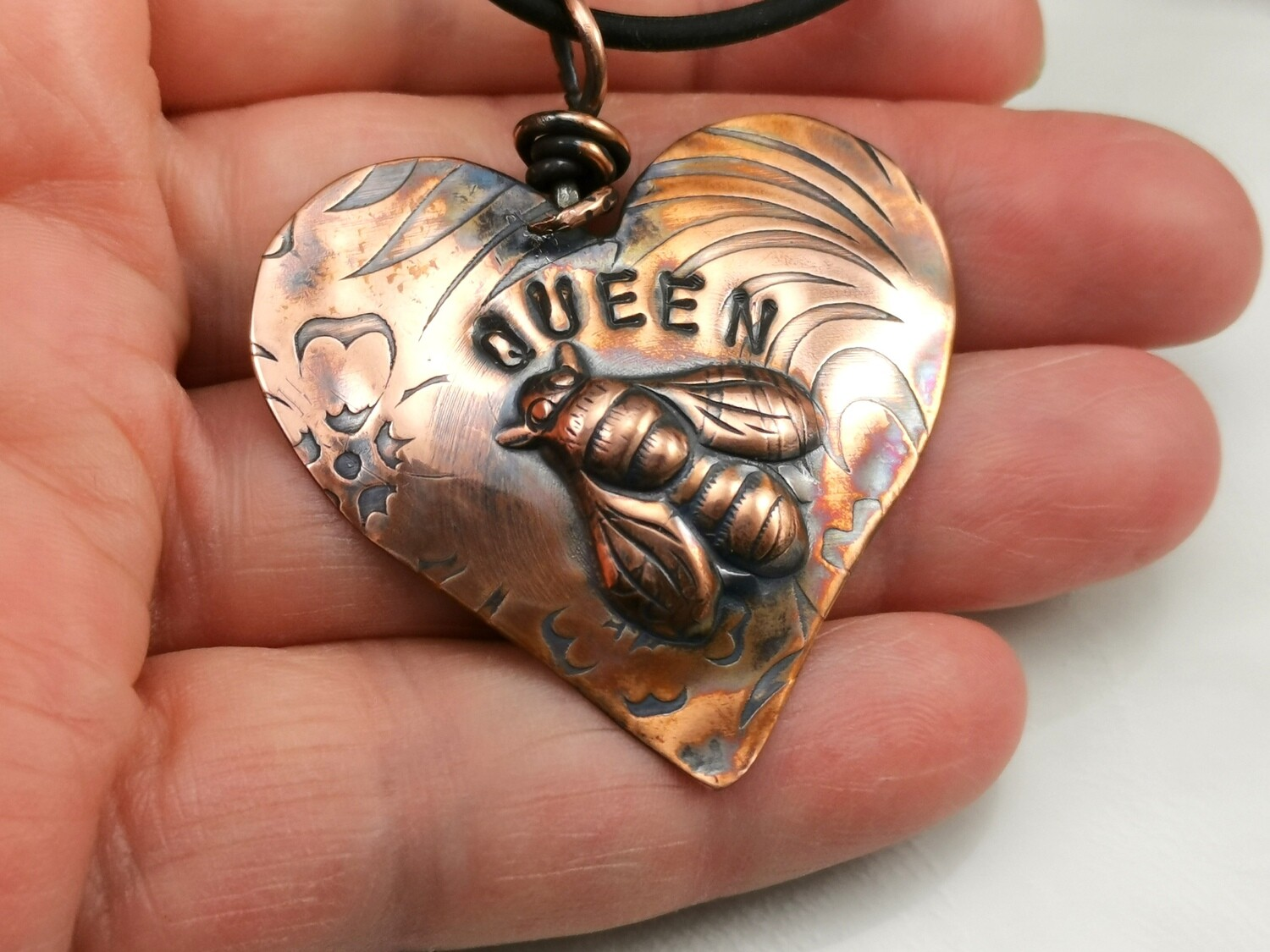 Repousse QUEEN BEE Copper Heart Pendant