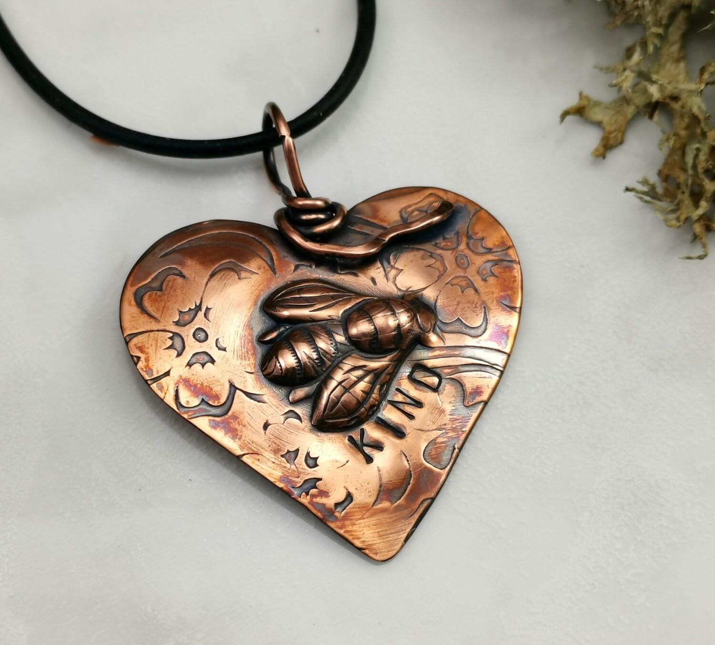 Repousse BEE KIND Copper Heart Pendant