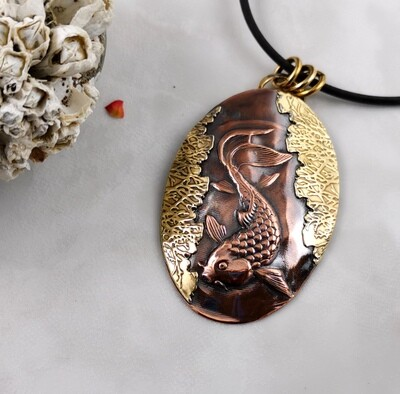 Hand Engraved Copper NuGold Koi Fish Repousse Pendant