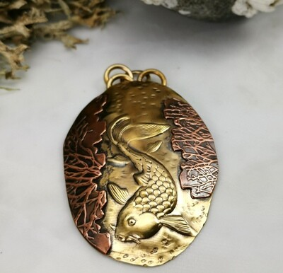 Hand Engraved NuGold & Copper Koi Fish Repousse Pendant