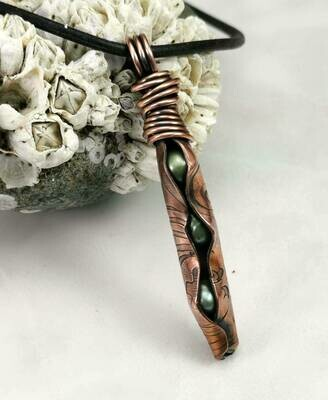 Three Peas in a Pod Copper Green Fresh Water Pearl Pendant with Wire Wrapped Bail