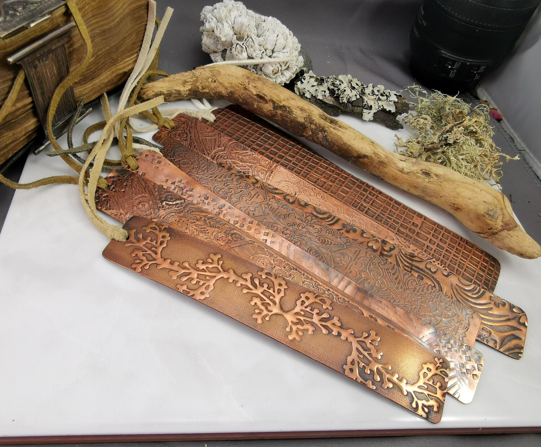 Handmade Bat Patterned Copper Bookmark