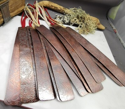 HANDMADE PATTERNED COPPER BOOKMARKS