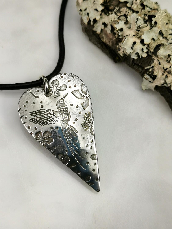 Hummingbird Sterling Silver Heart Pendant