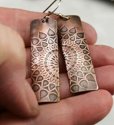 Mandala Jewelry, Mandala Earrings, Copper Jewelry, Handmade, Patterned Metal, Dangle Earrings