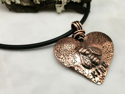 Repousse BEE KIND Copper Heart Pendant