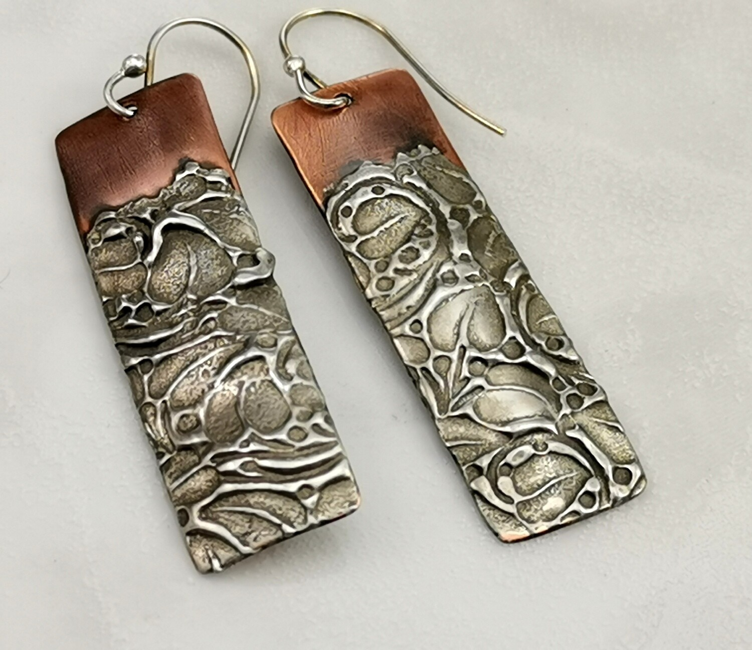 Rectangle Copper Earrings with Textured Gilded Silver