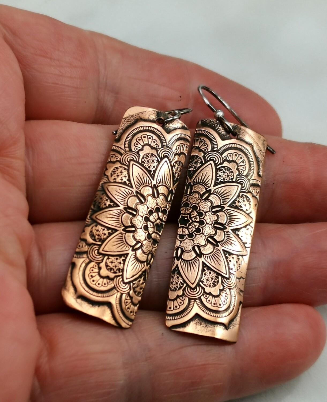 Mandala Jewelry, Mandala Earrings, Copper Jewelry, Handmade, Textured Metal, Patterned Metal, Dangle Earrings