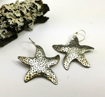 STARFISH Sterling Silver Earrings with Tiny Bubbles Pattern