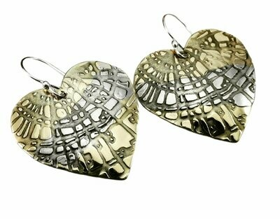 Mixed Metal Patterned Heart Earrings Red Brass and Silver