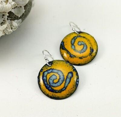 Sgraffito Enamel Jewelry, Gifts for Her, Enamel Earrings, Enamel Circle, Enamel Copper, Yellow Blue Enamel, Torch Enameled, Copper Earrings, Round Earrings