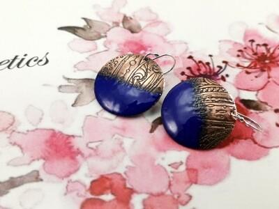 Royal Blue Enamel Jewelry, Gifts for Her, Enamel Earrings, Enamel Circle, Enamel Copper, Blue Enamel, Torch Enameled, Copper Earrings, Round Earrings