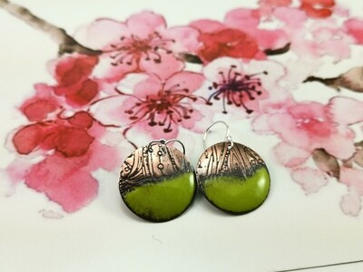 Patterned Copper Earrings with Green Torch Fired Enamel, Gifts for Her, Gifts for Woman, Gifts, Handmade Fashion Jewelry