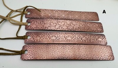 Handmade Patterned Copper Bookmarks, gifts for her, gifts for him, 7th anniversary gift