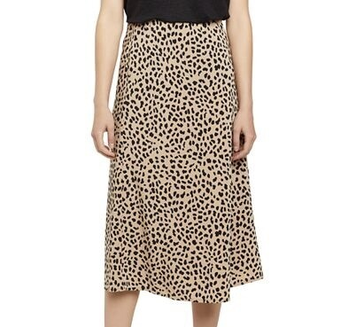 Skirt Animal Print Woven Midi Camel