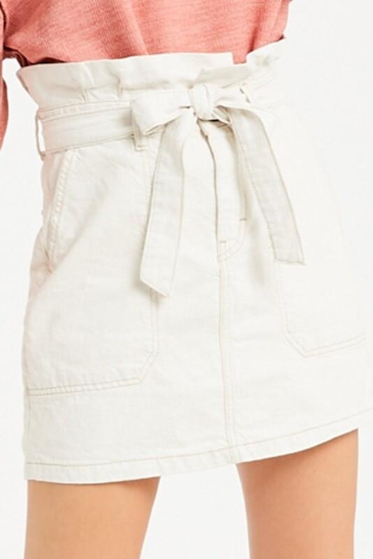 Skirt High Waist Belted Mini Ecru Denim