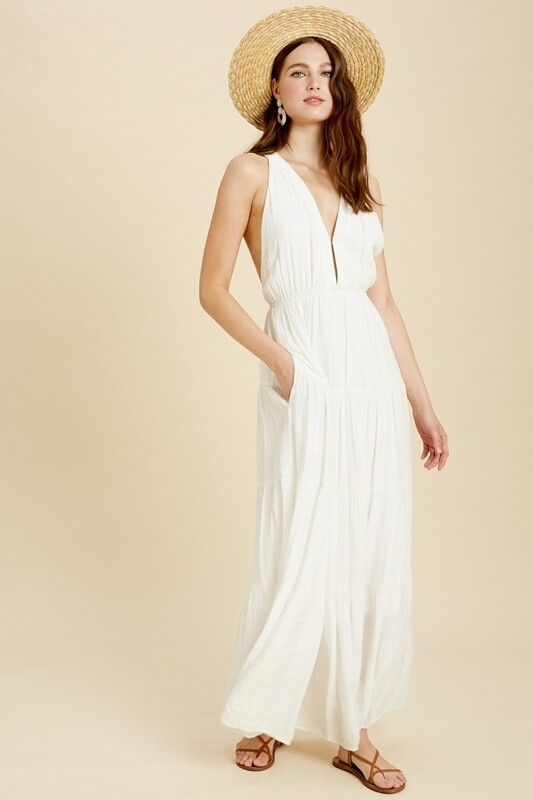 Dress Sleeveless Tiered Maxi Ivory