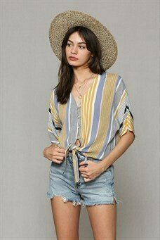 Top Striped V neck Button Mustard/Denim