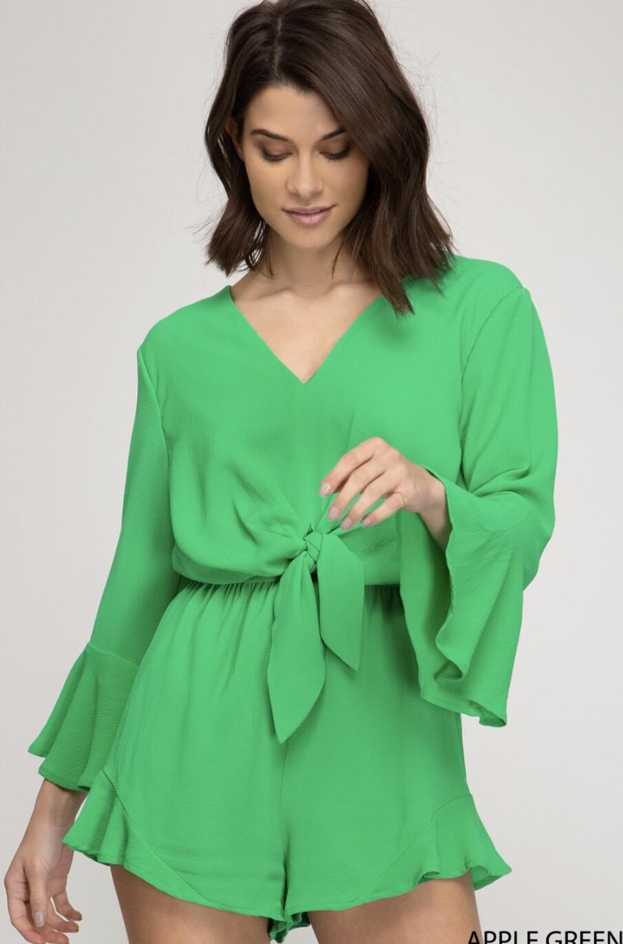 Romper Bell Sleeve Green Short