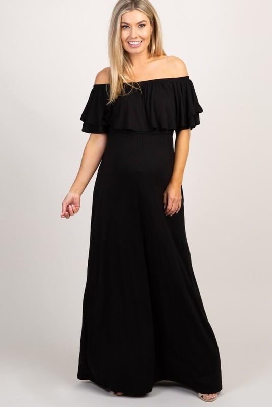 Dress Black Ruffle Off Shoulder Maxi