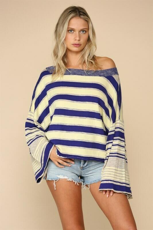 Top Boat Neck Oversize Sweater Lemon Blue