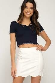 Mini Skirt Scalloped Hem Off White
