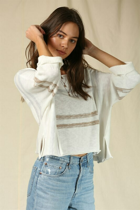 Top Boatneck Knit Ivory Multi Short