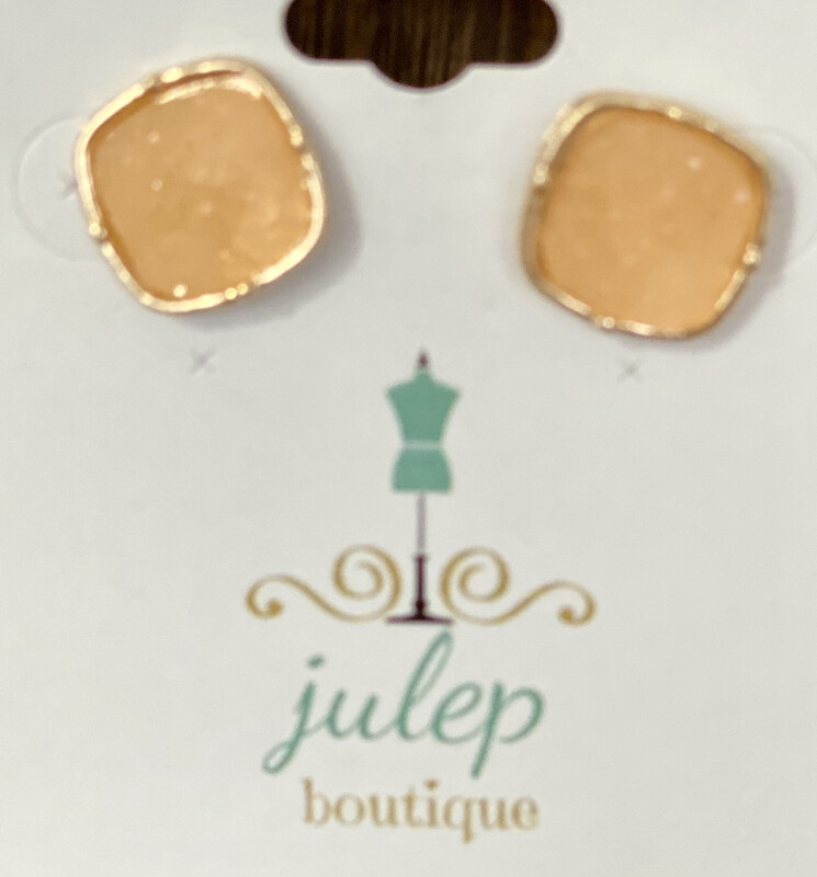 Earring Square Druzy Canteloupe