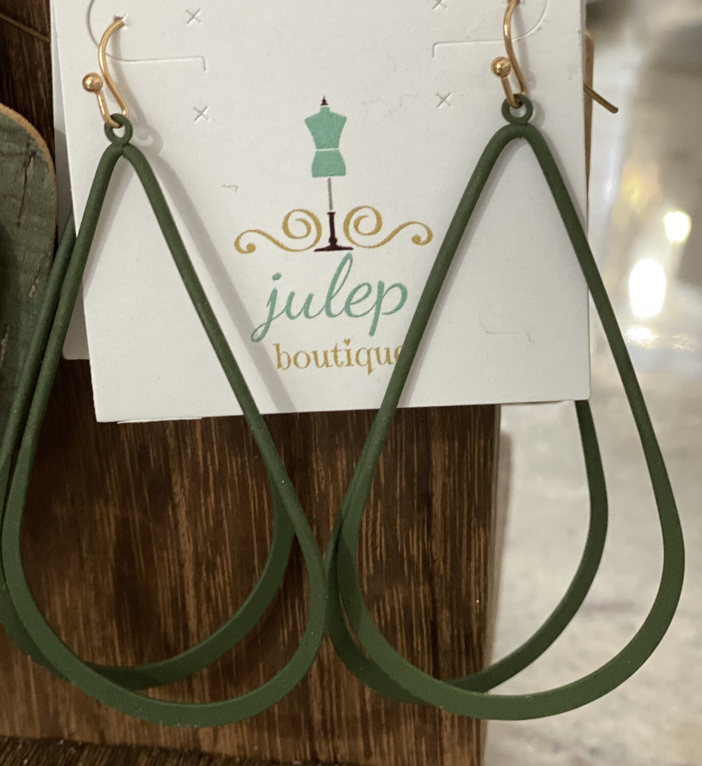 Earring Green Oblong Hoop