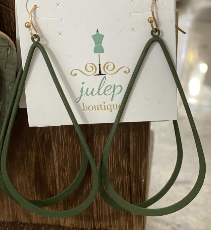 Earring Green Oblong Hoop