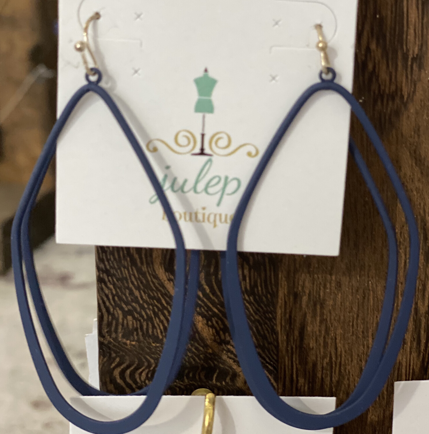 Earring Navy Oblong Hoop