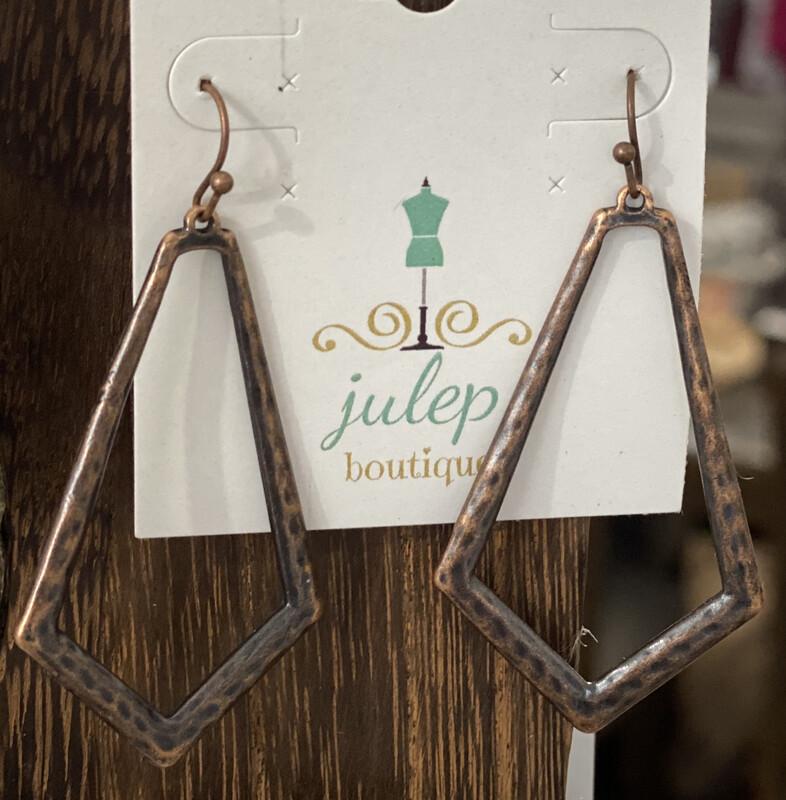 Earring Antique Bronze Pentagonal Hoop