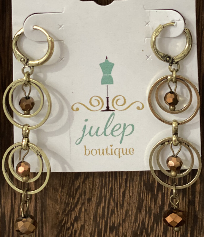 Earring Bronze Beaded 3 Hoop Dangle