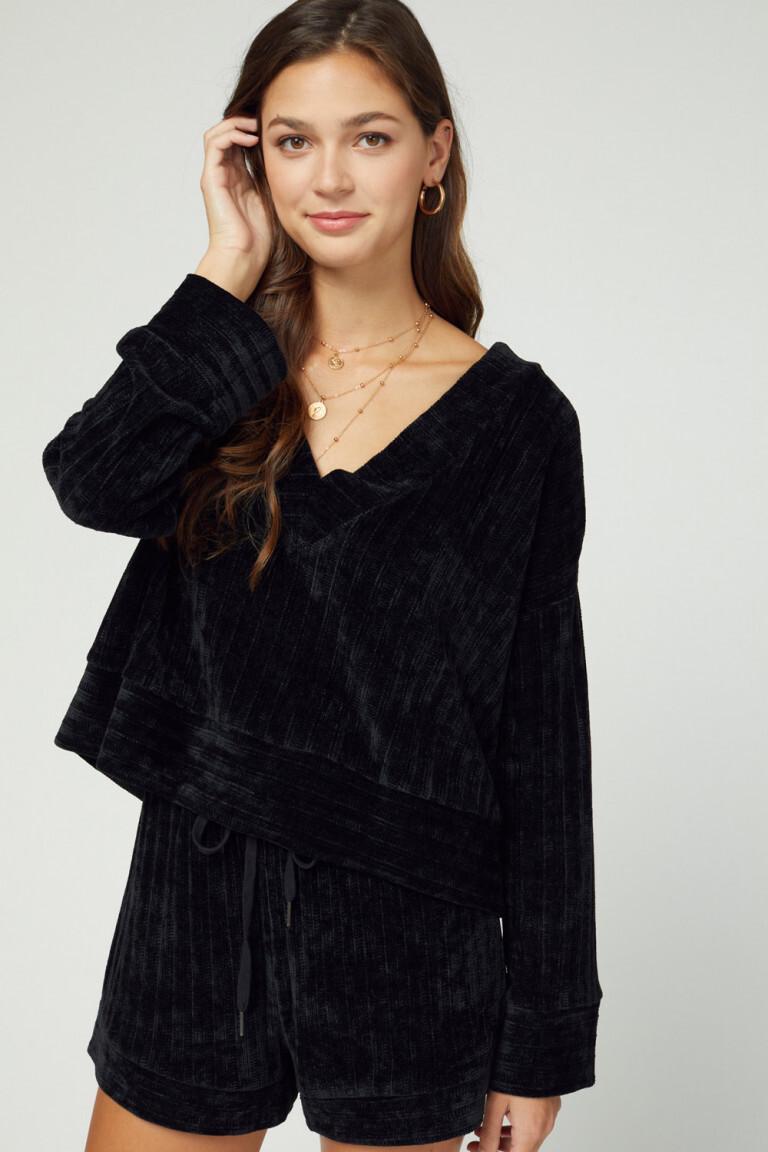 Top - Black Velvet Ribbed Long Sleeve