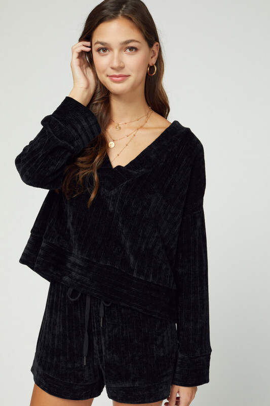 Top - Black Velvet Ribbed Long Sleeve