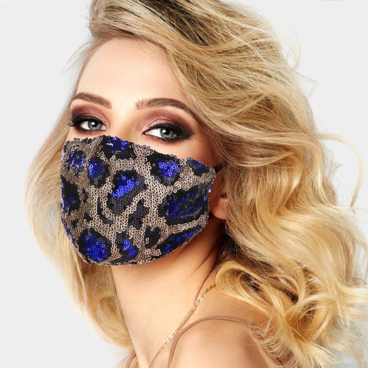 Fashion Mask Blue Leopard Glitter