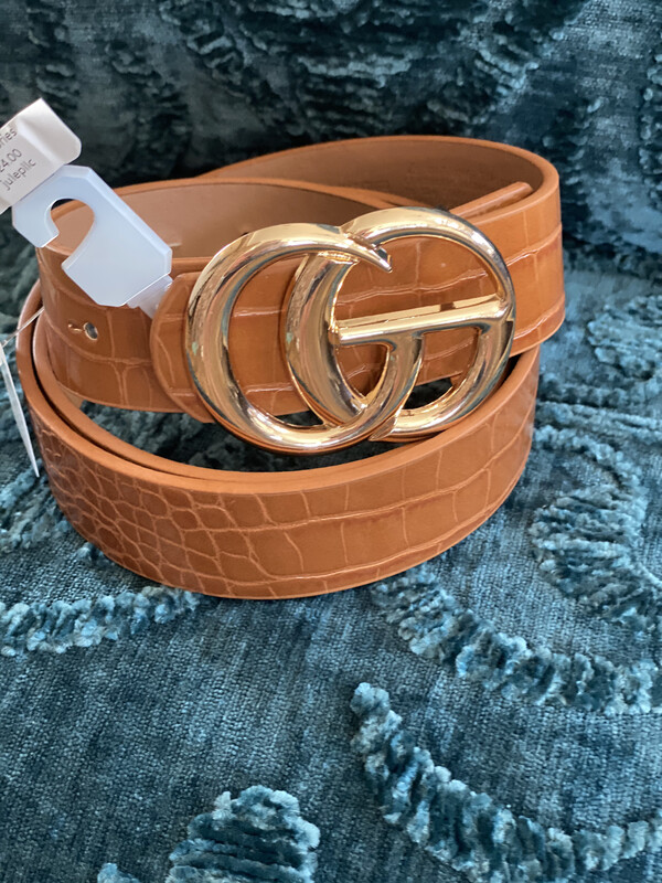 Belt Faux Leather Gold Ring Buck