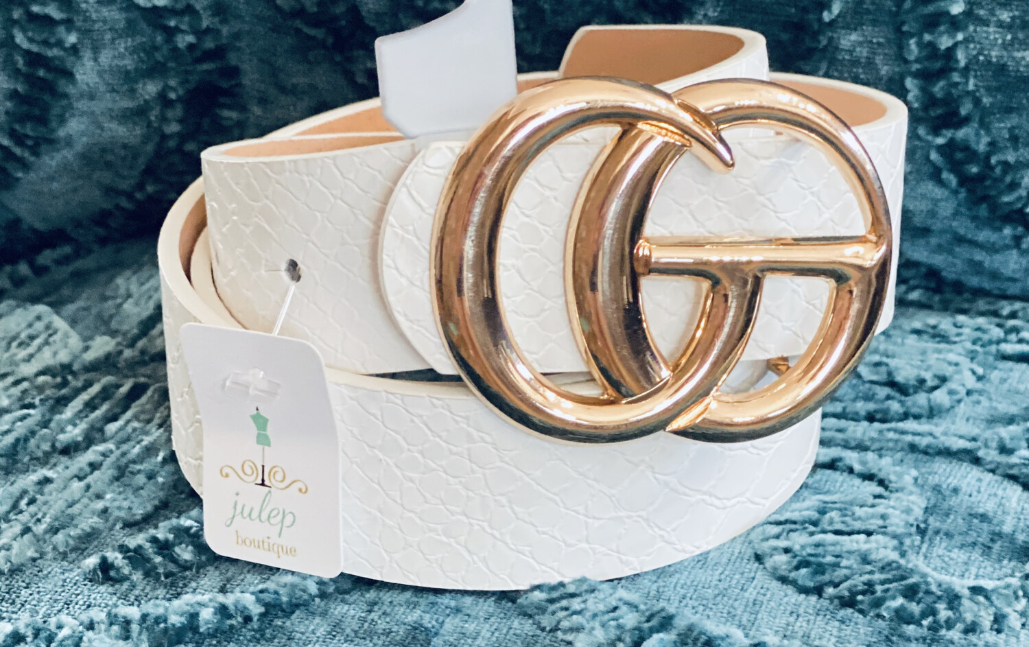Belt Faux Leather Gold Ring White