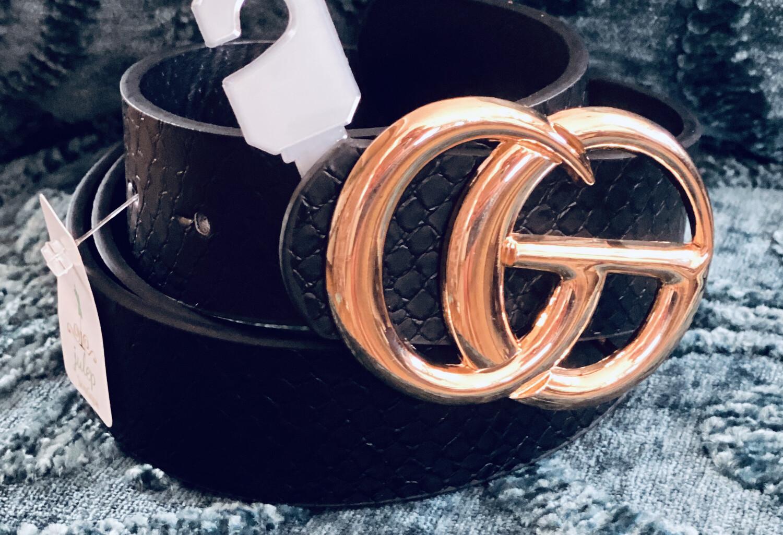 Belt Faux Leather Gold Ring Black