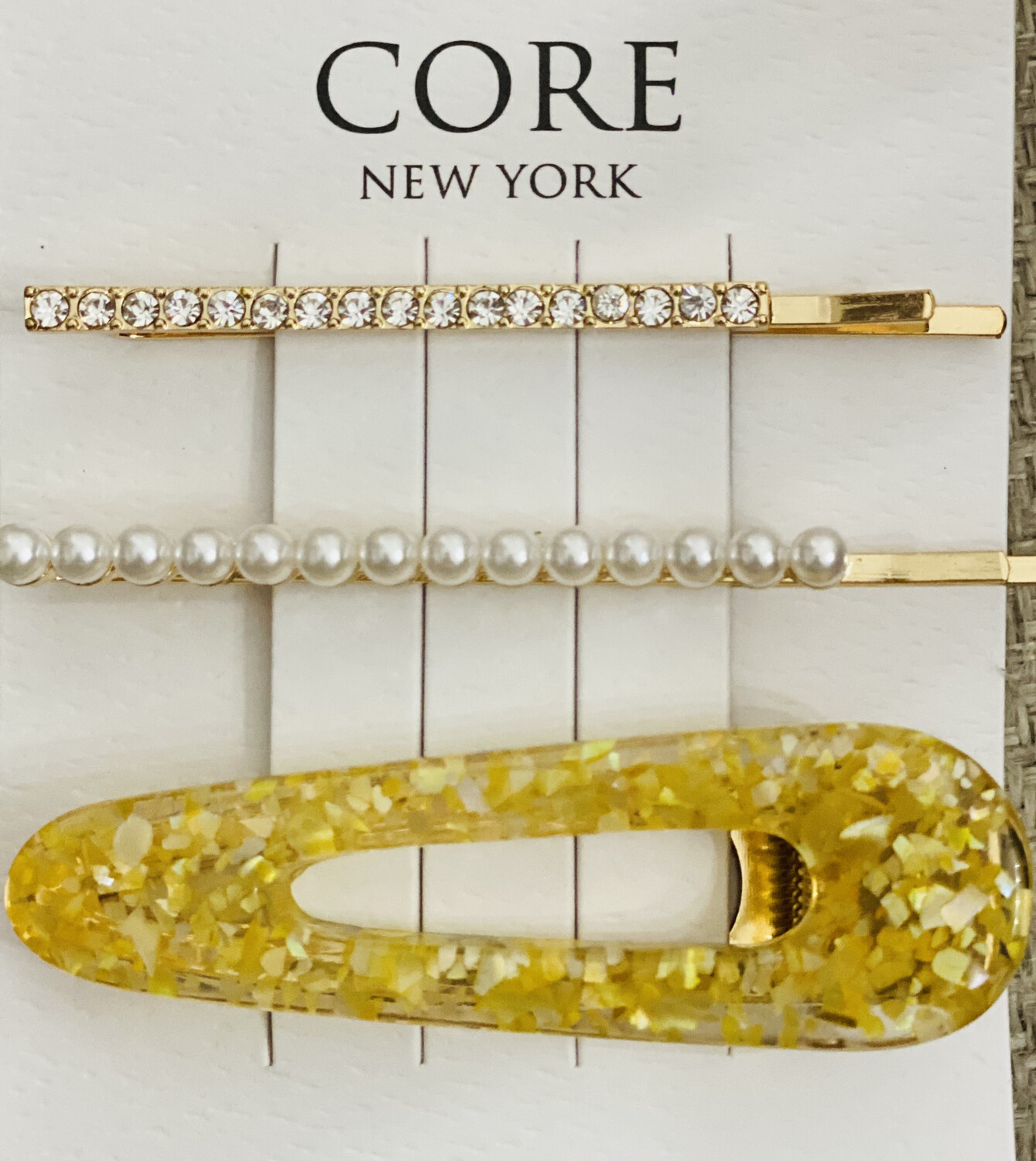 Hair Pin Set Gold Flake Pearl & Rhinestone