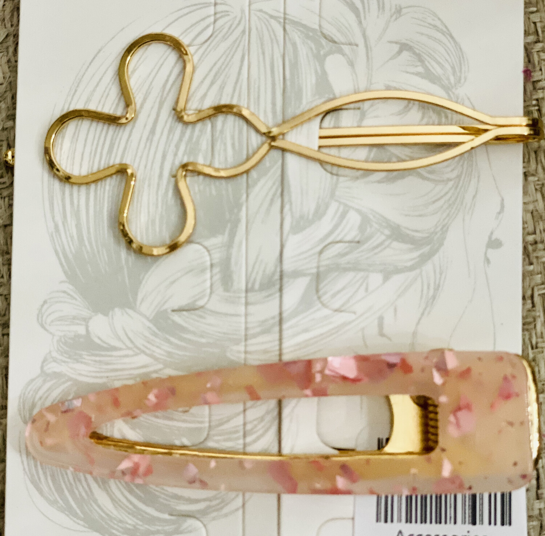 Hair Pin Set Pink Flake & Clover